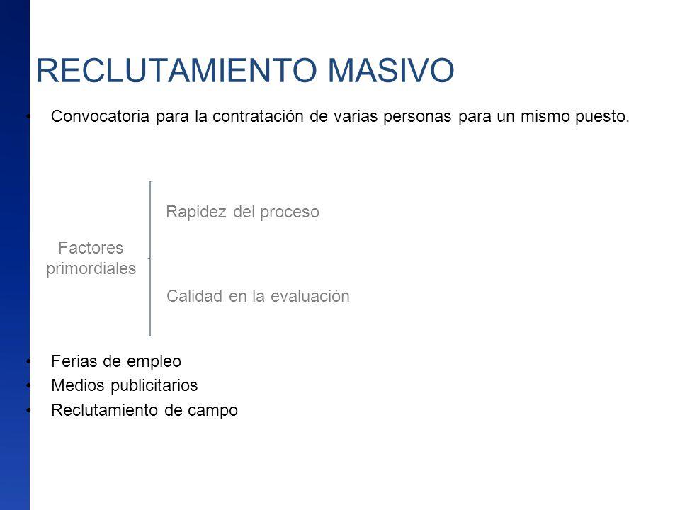 RECLUTAMIENTO MASIVO Convocatoria para la contratación de varias personas para un mismo puesto. Ferias de empleo Medios publicitarios Reclutamiento de