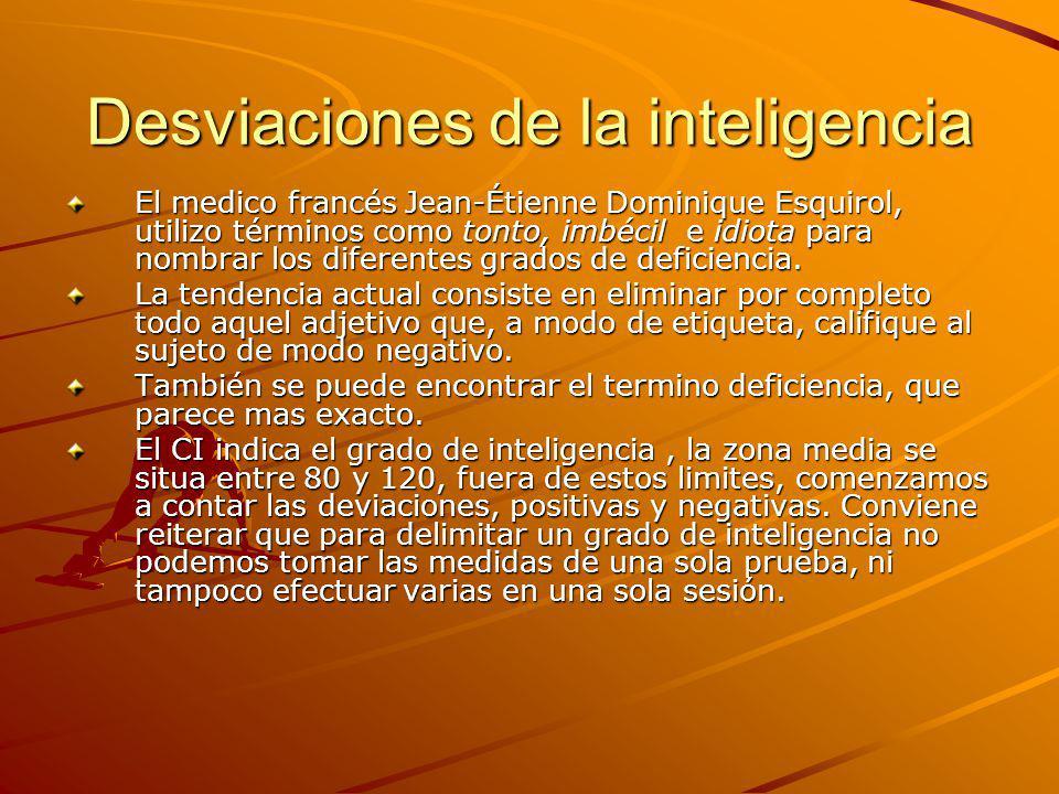 Desviaciones de la inteligencia El medico francés Jean-Étienne Dominique Esquirol, utilizo términos como tonto, imbécil e idiota para nombrar los dife