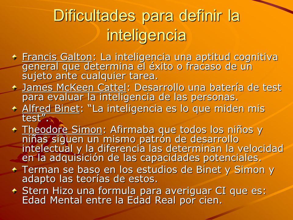 Dificultades para definir la inteligencia Francis Galton: La inteligencia una aptitud cognitiva general que determina el éxito o fracaso de un sujeto