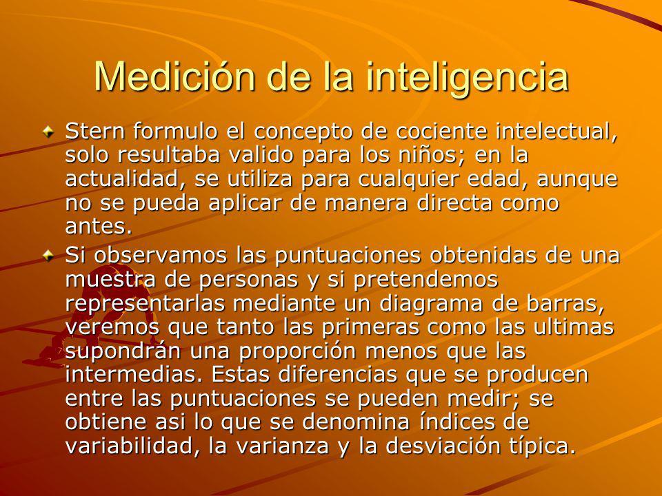 Medición de la inteligencia Stern formulo el concepto de cociente intelectual, solo resultaba valido para los niños; en la actualidad, se utiliza para