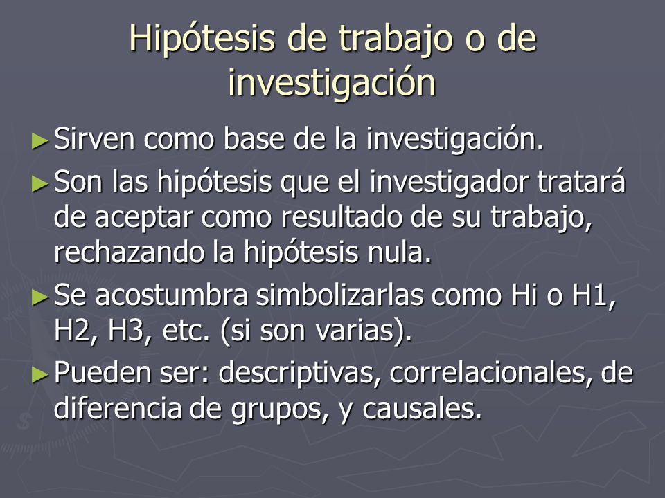Hipótesis de trabajo o de investigación Sirven como base de la investigación.
