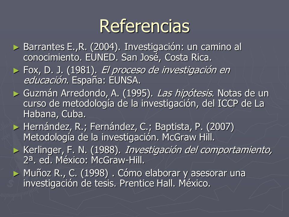Referencias Barrantes E.,R.(2004). Investigación: un camino al conocimiento.