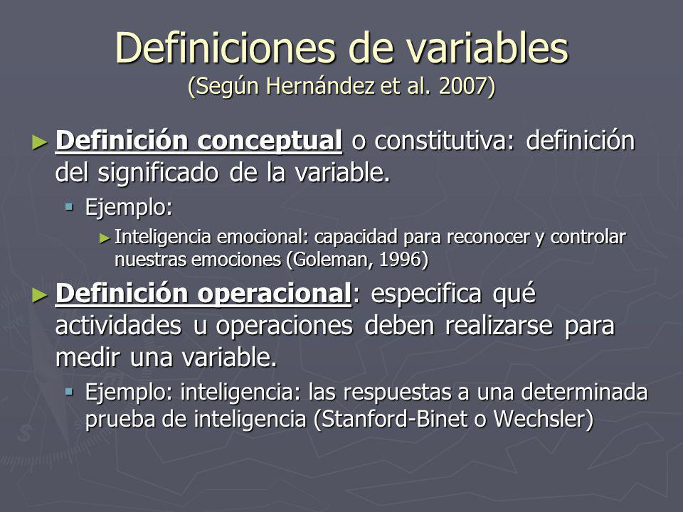 Definiciones de variables (Según Hernández et al.