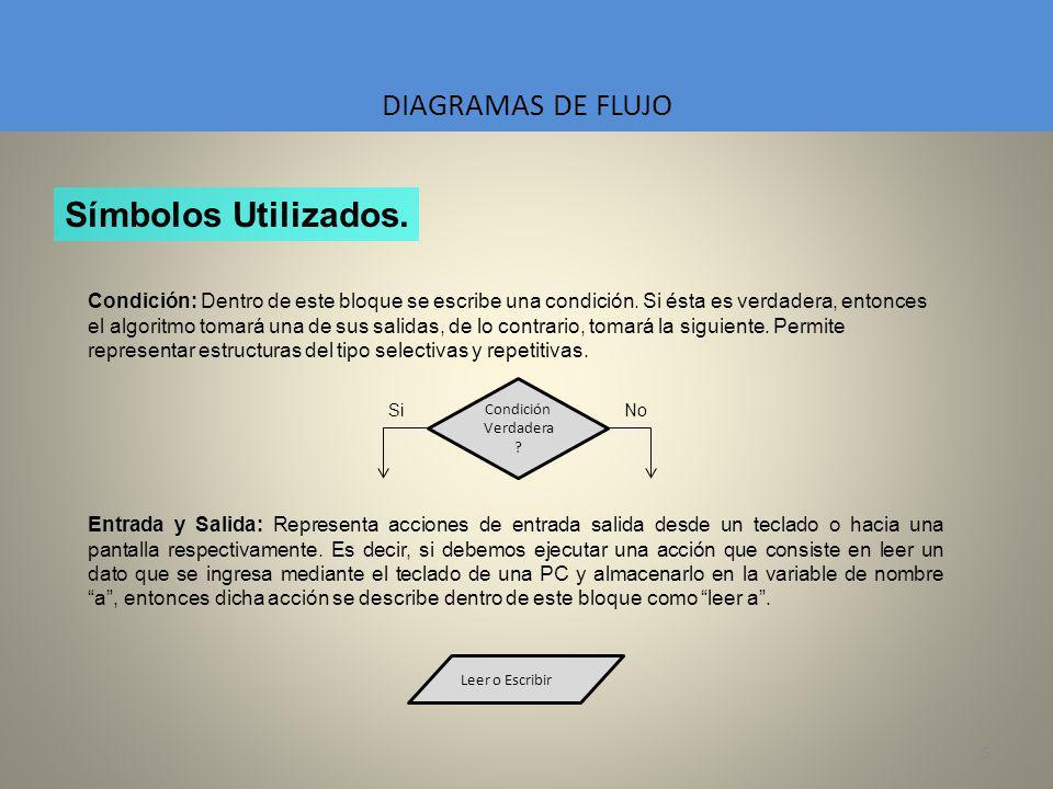 5 DIAGRAMAS DE FLUJO Condición: Dentro de este bloque se escribe una condición. Si ésta es verdadera, entonces el algoritmo tomará una de sus salidas,