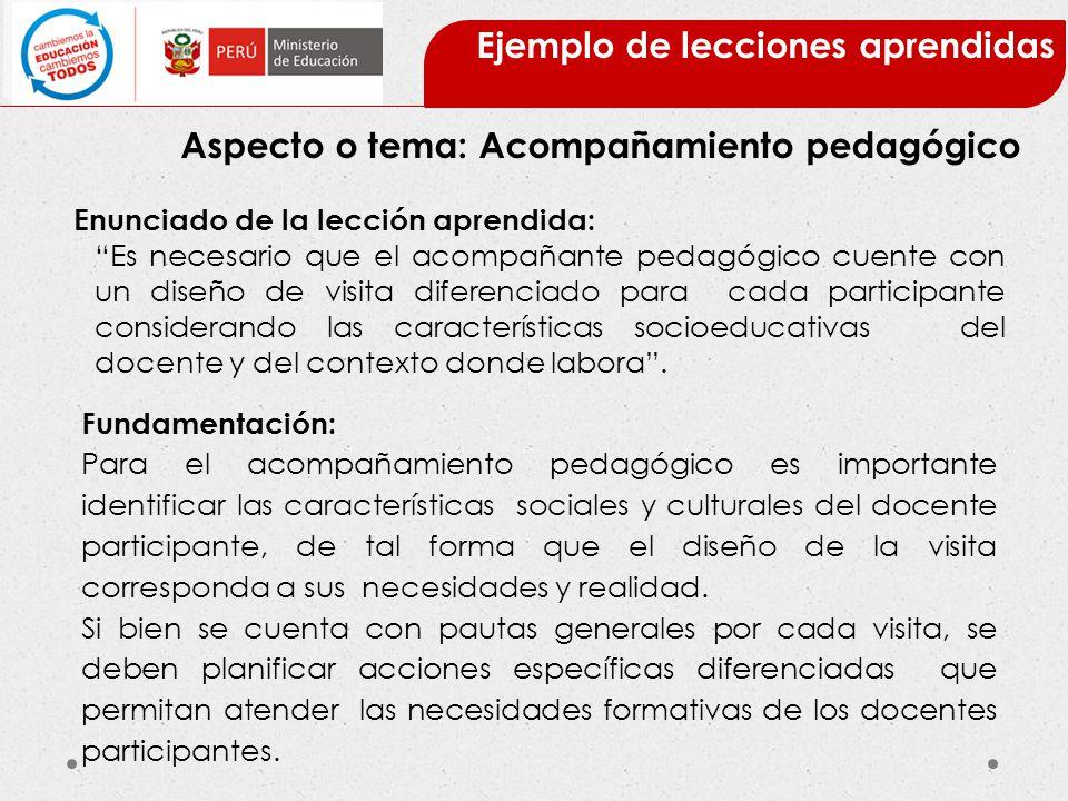 Ejemplo de lecciones aprendidas Aspecto o tema: Acompañamiento pedagógico Enunciado de la lección aprendida: Es necesario que el acompañante pedagógic