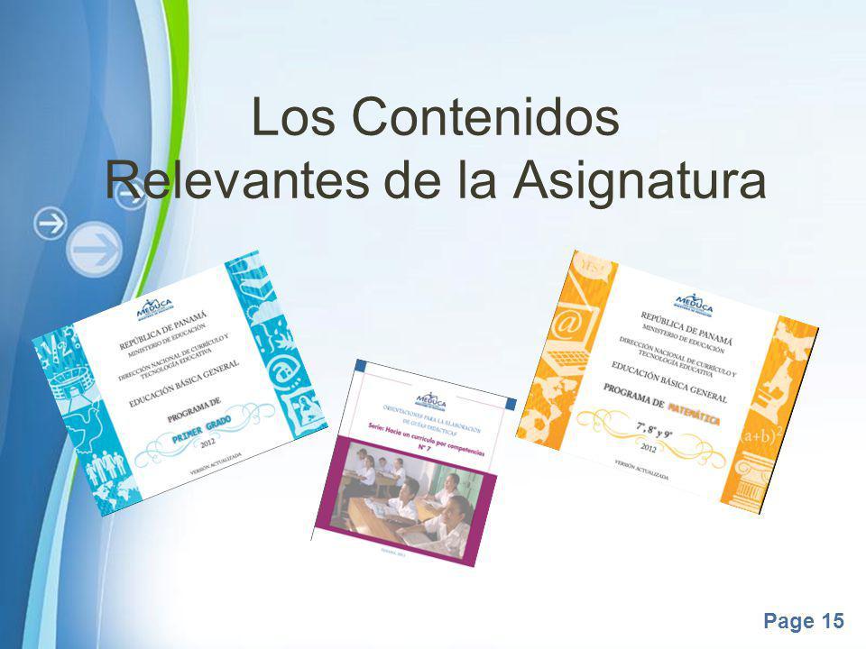 Powerpoint Templates Page 15 Los Contenidos Relevantes de la Asignatura