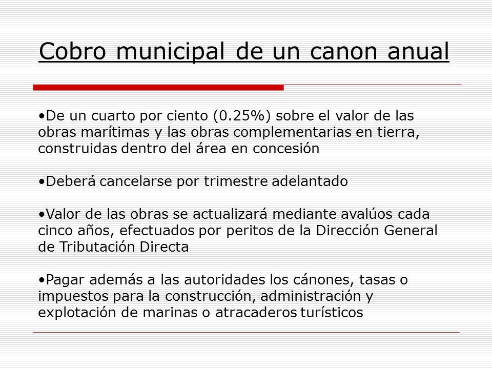 Cobro municipal de un canon anual De un cuarto por ciento (0.25%) sobre el valor de las obras marítimas y las obras complementarias en tierra, constru