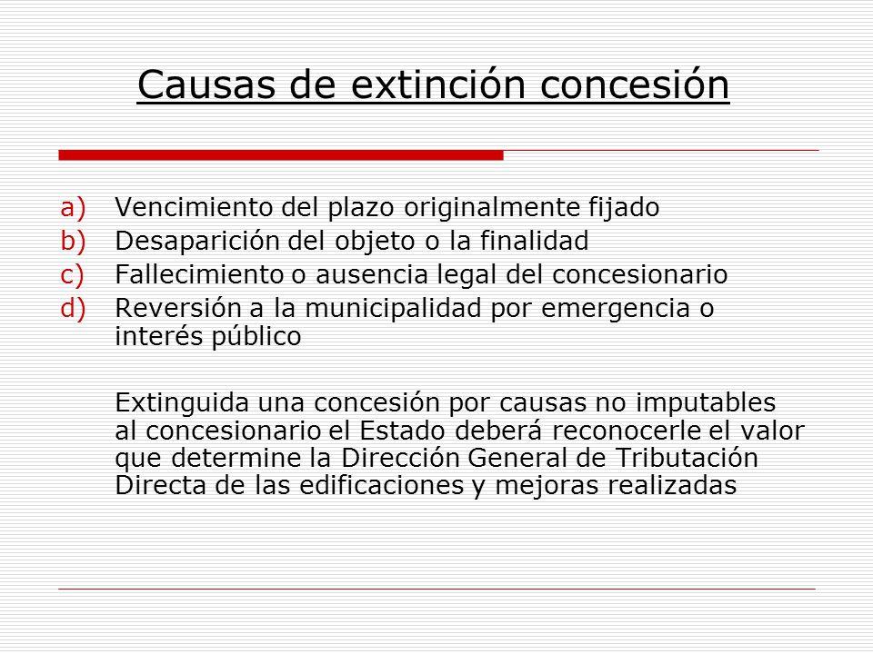 Causas de extinción concesión a)Vencimiento del plazo originalmente fijado b)Desaparición del objeto o la finalidad c)Fallecimiento o ausencia legal d