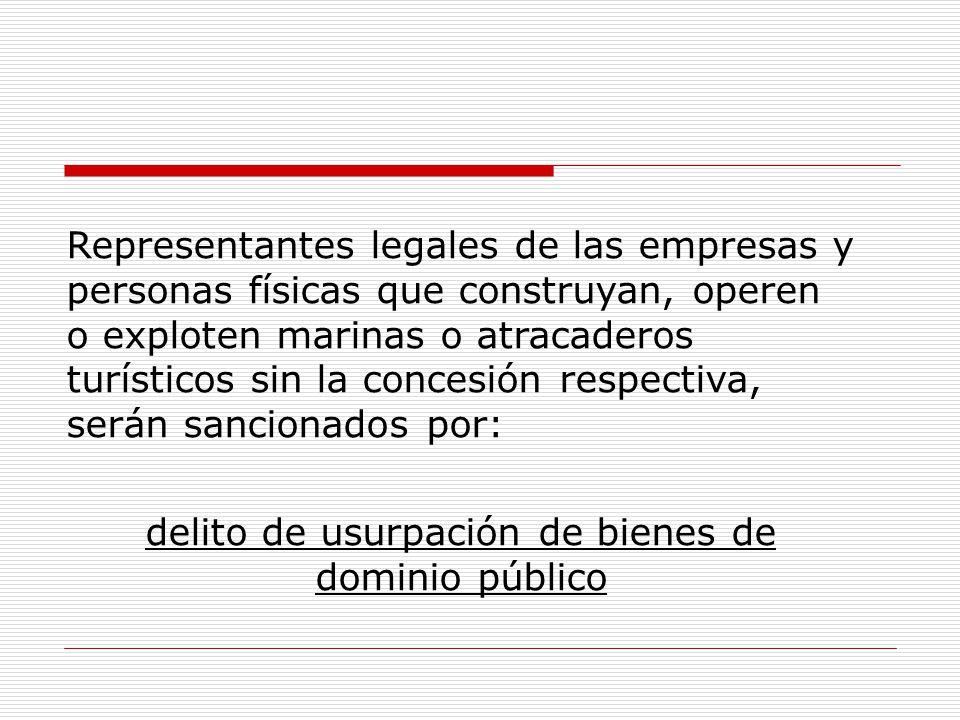 Representantes legales de las empresas y personas físicas que construyan, operen o exploten marinas o atracaderos turísticos sin la concesión respecti
