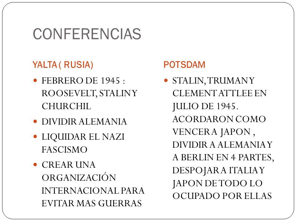 CONFERENCIAS YALTA ( RUSIA)POTSDAM FEBRERO DE 1945 : ROOSEVELT, STALIN Y CHURCHIL DIVIDIR ALEMANIA LIQUIDAR EL NAZI FASCISMO CREAR UNA ORGANIZACIÓN IN