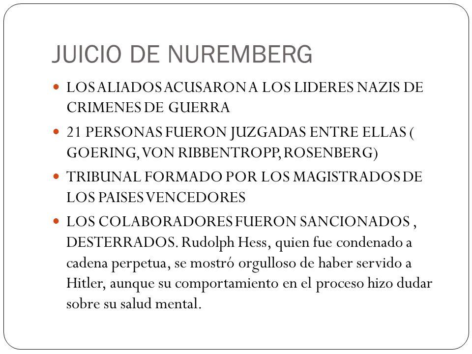JUICIO DE NUREMBERG LOS ALIADOS ACUSARON A LOS LIDERES NAZIS DE CRIMENES DE GUERRA 21 PERSONAS FUERON JUZGADAS ENTRE ELLAS ( GOERING, VON RIBBENTROPP,