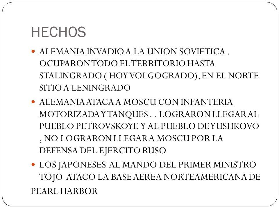 HECHOS ALEMANIA INVADIO A LA UNION SOVIETICA. OCUPARON TODO EL TERRITORIO HASTA STALINGRADO ( HOY VOLGOGRADO), EN EL NORTE SITIO A LENINGRADO ALEMANIA