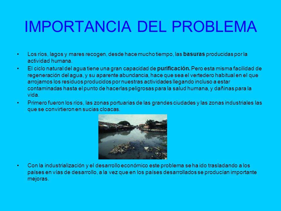 IMPORTANCIA DEL PROBLEMA Los ríos, lagos y mares recogen, desde hace mucho tiempo, las basuras producidas por la actividad humana. El ciclo natural de