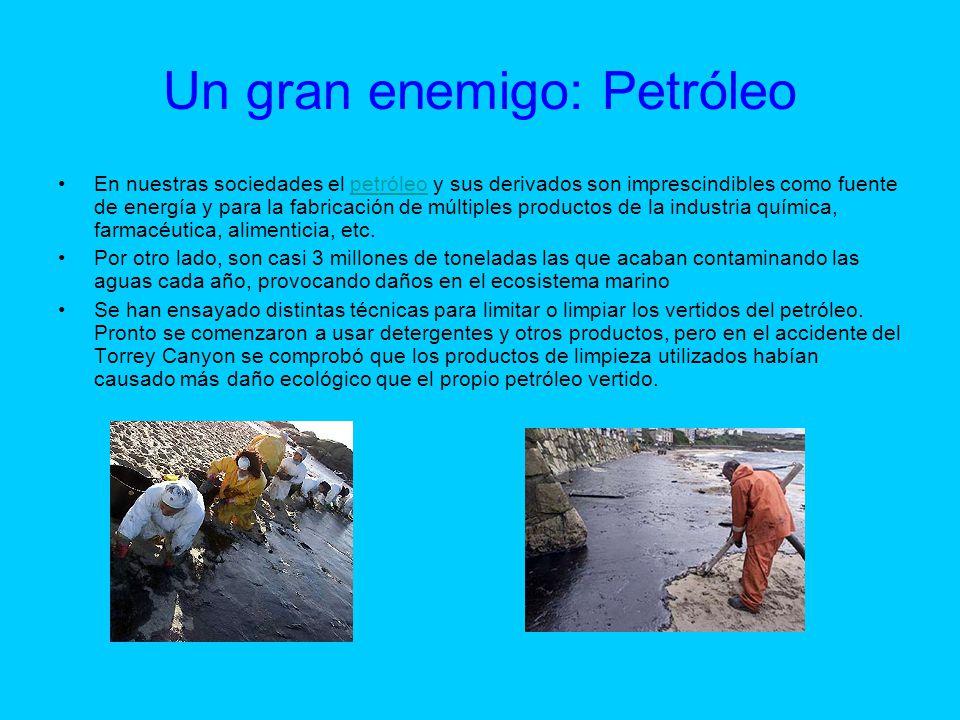 Un gran enemigo: Petróleo En nuestras sociedades el petróleo y sus derivados son imprescindibles como fuente de energía y para la fabricación de múlti