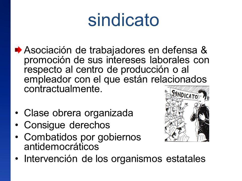 sindicato Asociación de trabajadores en defensa & promoción de sus intereses laborales con respecto al centro de producción o al empleador con el que