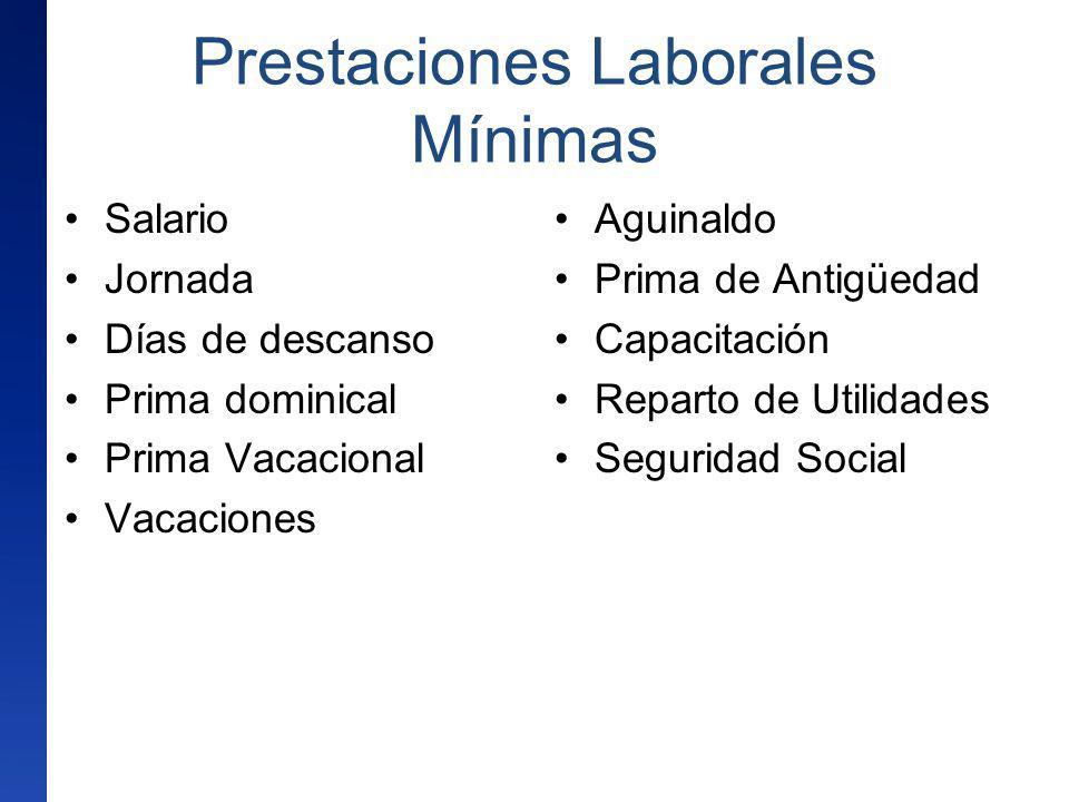 Prestaciones Laborales Mínimas Salario Jornada Días de descanso Prima dominical Prima Vacacional Vacaciones Aguinaldo Prima de Antigüedad Capacitación