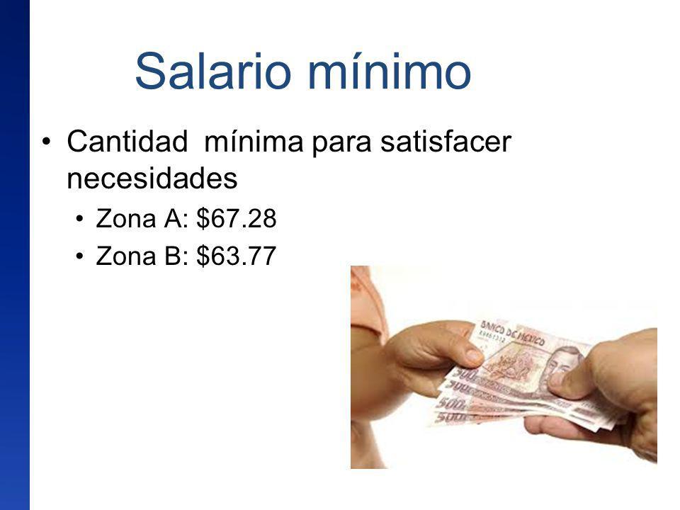 Salario mínimo Cantidad mínima para satisfacer necesidades Zona A: $67.28 Zona B: $63.77