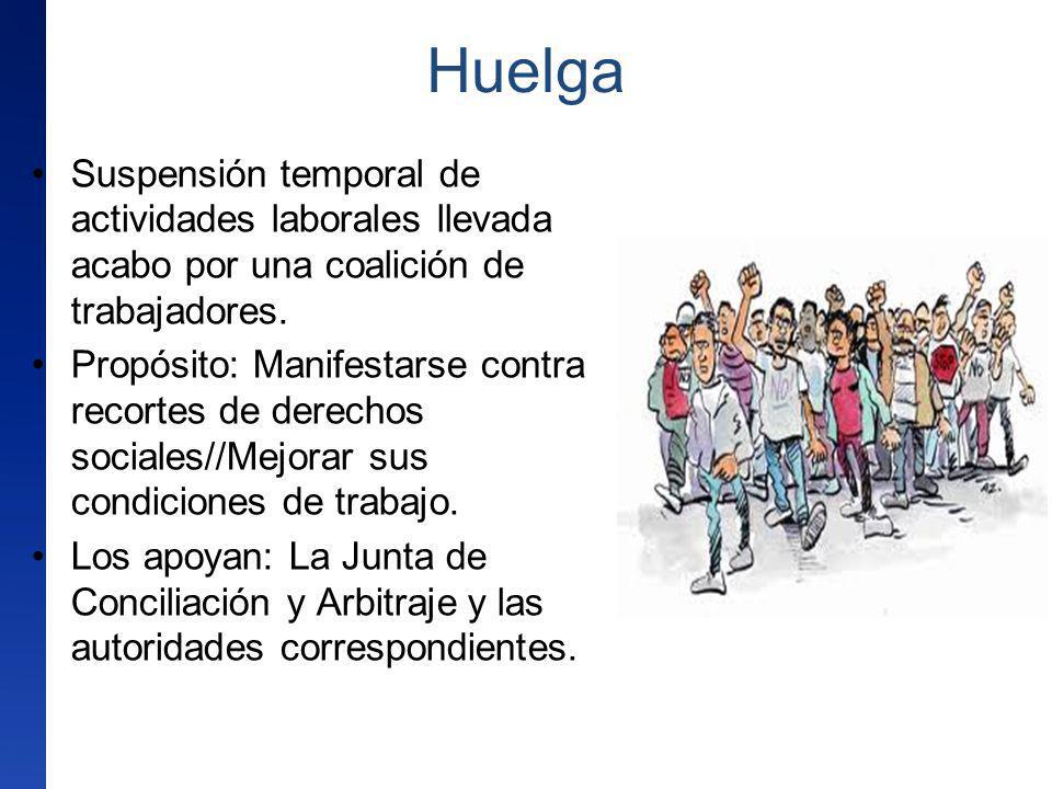 Huelga Suspensión temporal de actividades laborales llevada acabo por una coalición de trabajadores. Propósito: Manifestarse contra recortes de derech