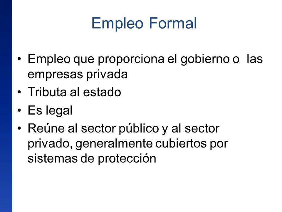 Empleo que proporciona el gobierno o las empresas privada Tributa al estado Es legal Reúne al sector público y al sector privado, generalmente cubiert