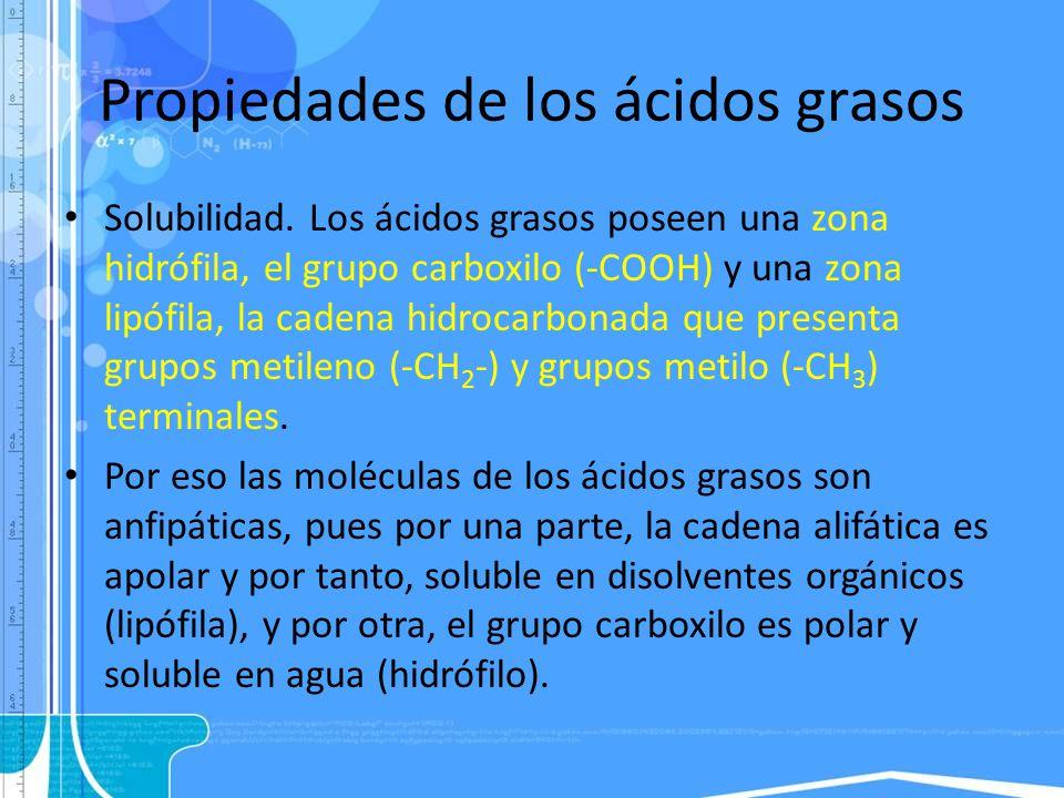Propiedades de los ácidos grasos Solubilidad. Los ácidos grasos poseen una zona hidrófila, el grupo carboxilo (-COOH) y una zona lipófila, la cadena h