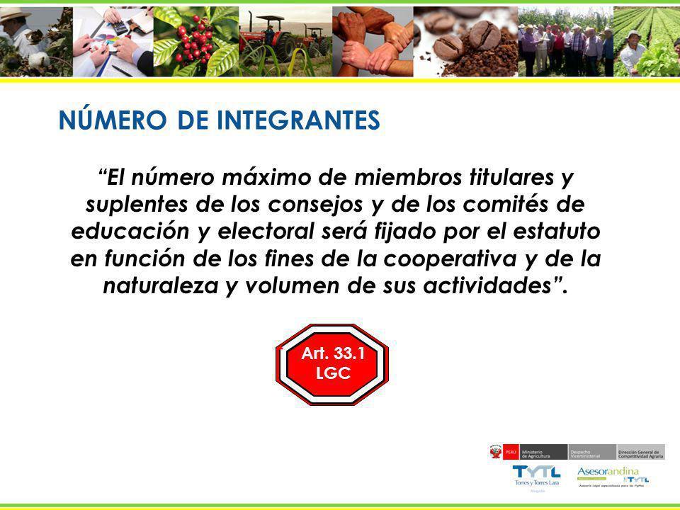 NÚMERO DE INTEGRANTES El número máximo de miembros titulares y suplentes de los consejos y de los comités de educación y electoral será fijado por el