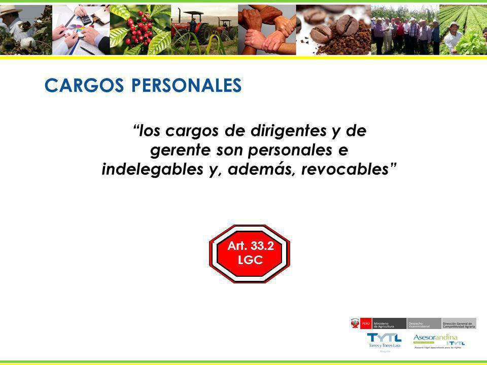 CARGOS PERSONALES los cargos de dirigentes y de gerente son personales e indelegables y, además, revocables Art. 33.2 LGC