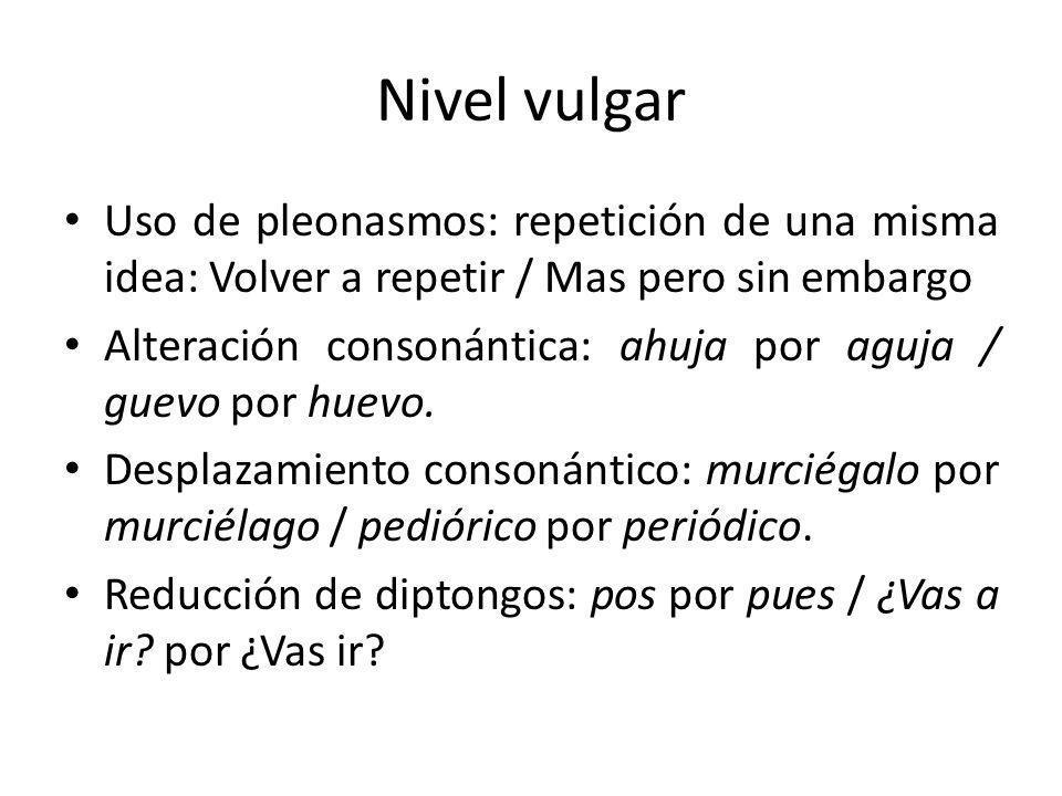 Nivel vulgar Uso de pleonasmos: repetición de una misma idea: Volver a repetir / Mas pero sin embargo Alteración consonántica: ahuja por aguja / guevo