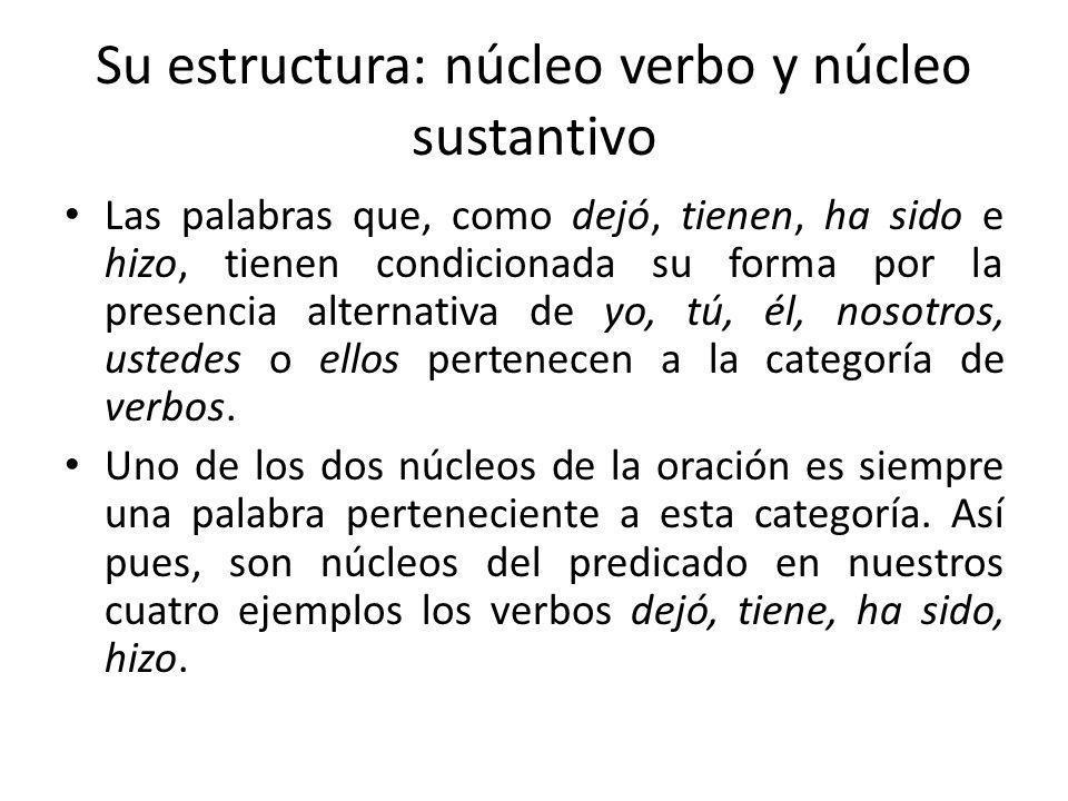 Su estructura: núcleo verbo y núcleo sustantivo Las palabras que, como dejó, tienen, ha sido e hizo, tienen condicionada su forma por la presencia alt