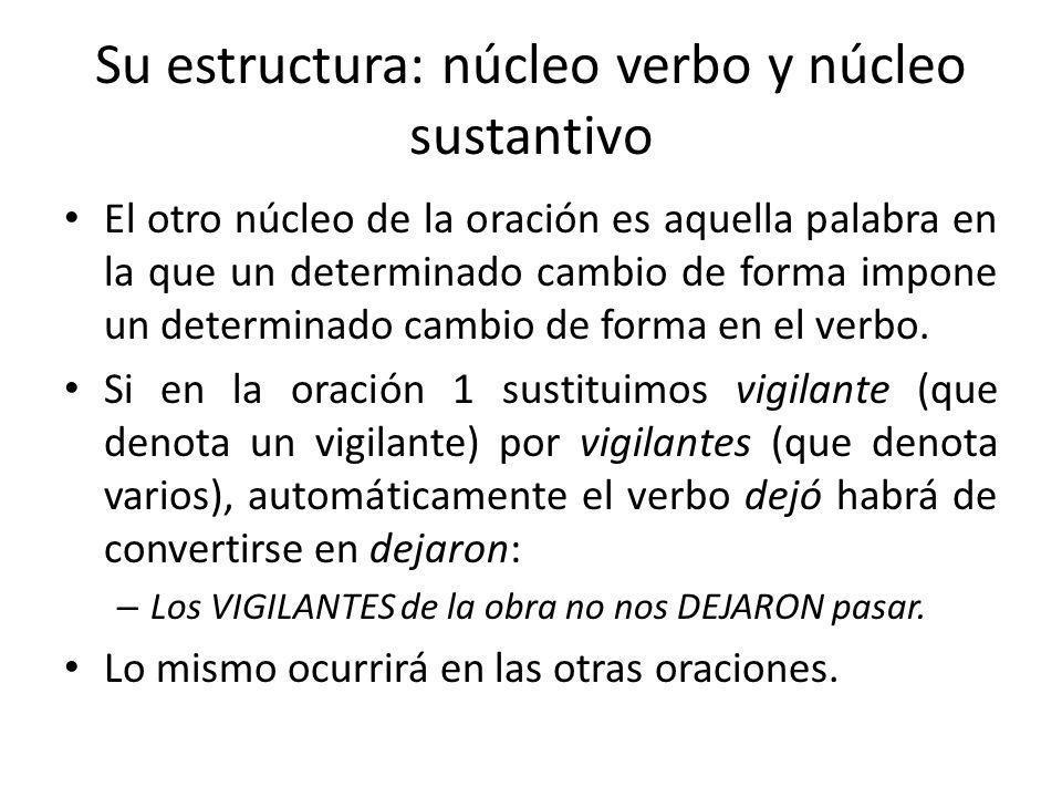 Su estructura: núcleo verbo y núcleo sustantivo El otro núcleo de la oración es aquella palabra en la que un determinado cambio de forma impone un det