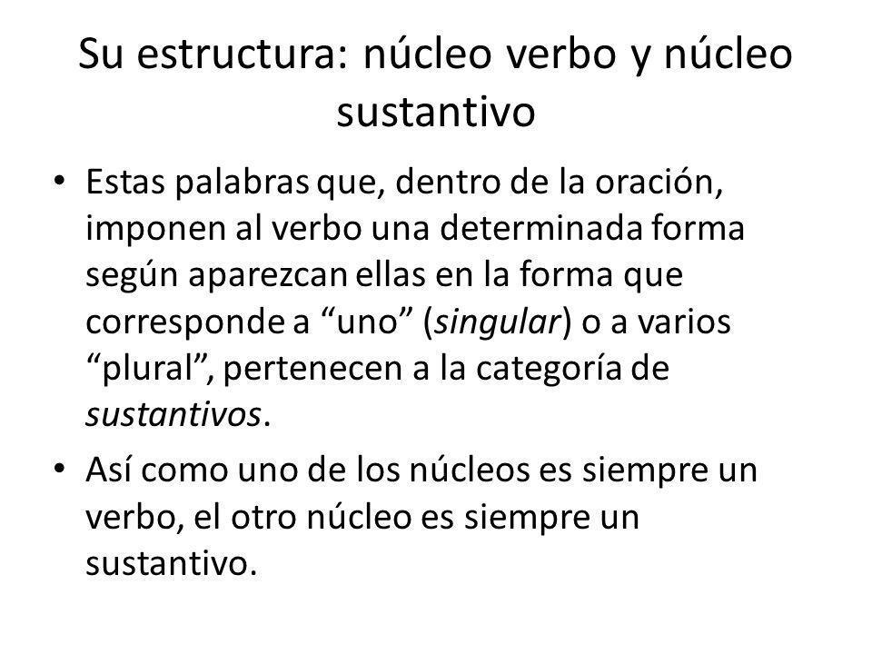Su estructura: núcleo verbo y núcleo sustantivo Estas palabras que, dentro de la oración, imponen al verbo una determinada forma según aparezcan ellas