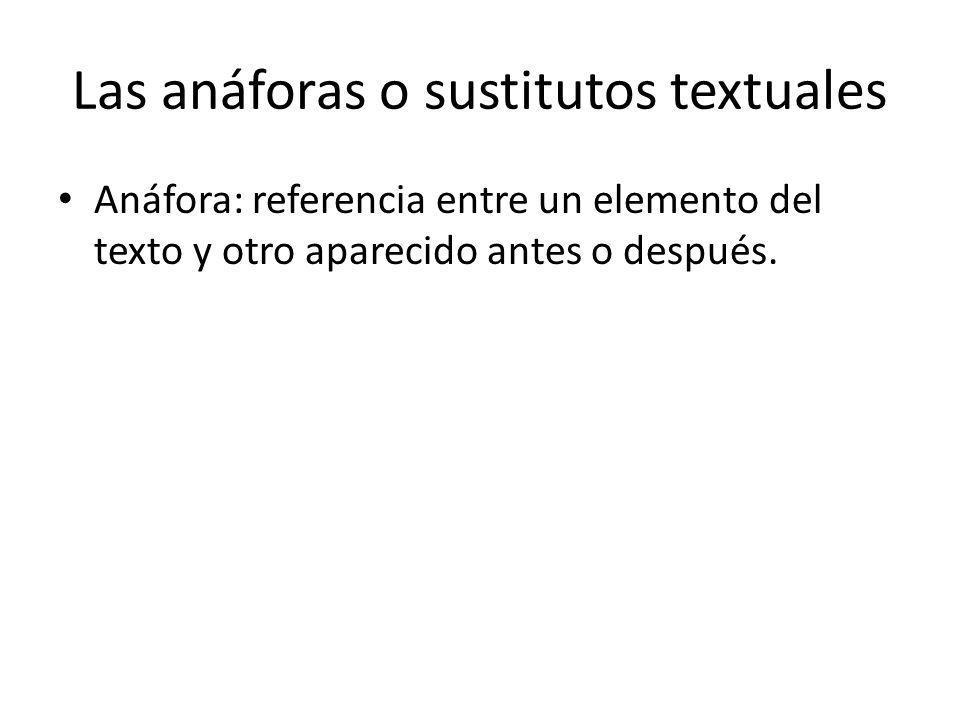 Las anáforas o sustitutos textuales Anáfora: referencia entre un elemento del texto y otro aparecido antes o después.