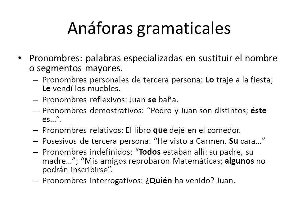 Anáforas gramaticales Pronombres: palabras especializadas en sustituir el nombre o segmentos mayores. – Pronombres personales de tercera persona: Lo t