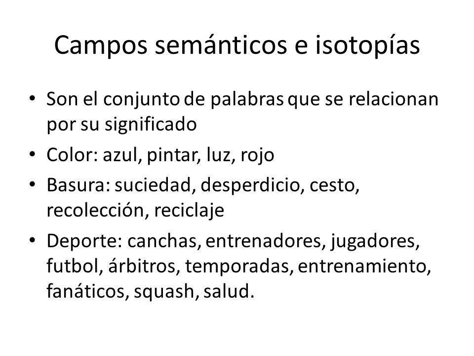 Campos semánticos e isotopías Son el conjunto de palabras que se relacionan por su significado Color: azul, pintar, luz, rojo Basura: suciedad, desper