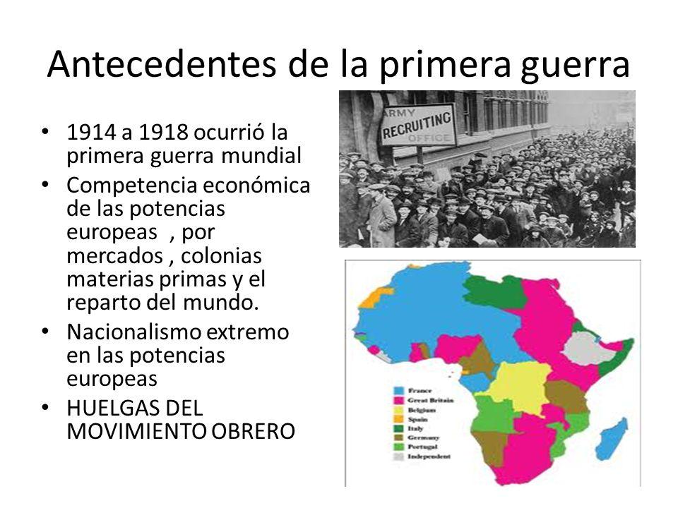 Antecedentes de la primera guerra 1914 a 1918 ocurrió la primera guerra mundial Competencia económica de las potencias europeas, por mercados, colonia