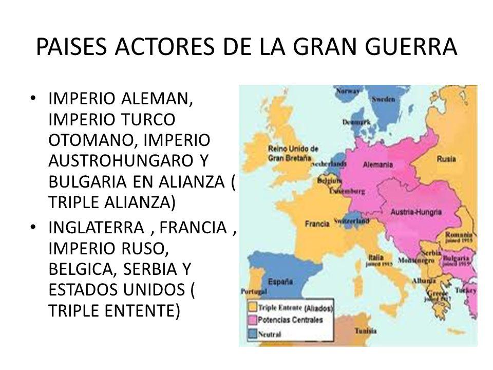 PAISES ACTORES DE LA GRAN GUERRA IMPERIO ALEMAN, IMPERIO TURCO OTOMANO, IMPERIO AUSTROHUNGARO Y BULGARIA EN ALIANZA ( TRIPLE ALIANZA) INGLATERRA, FRAN