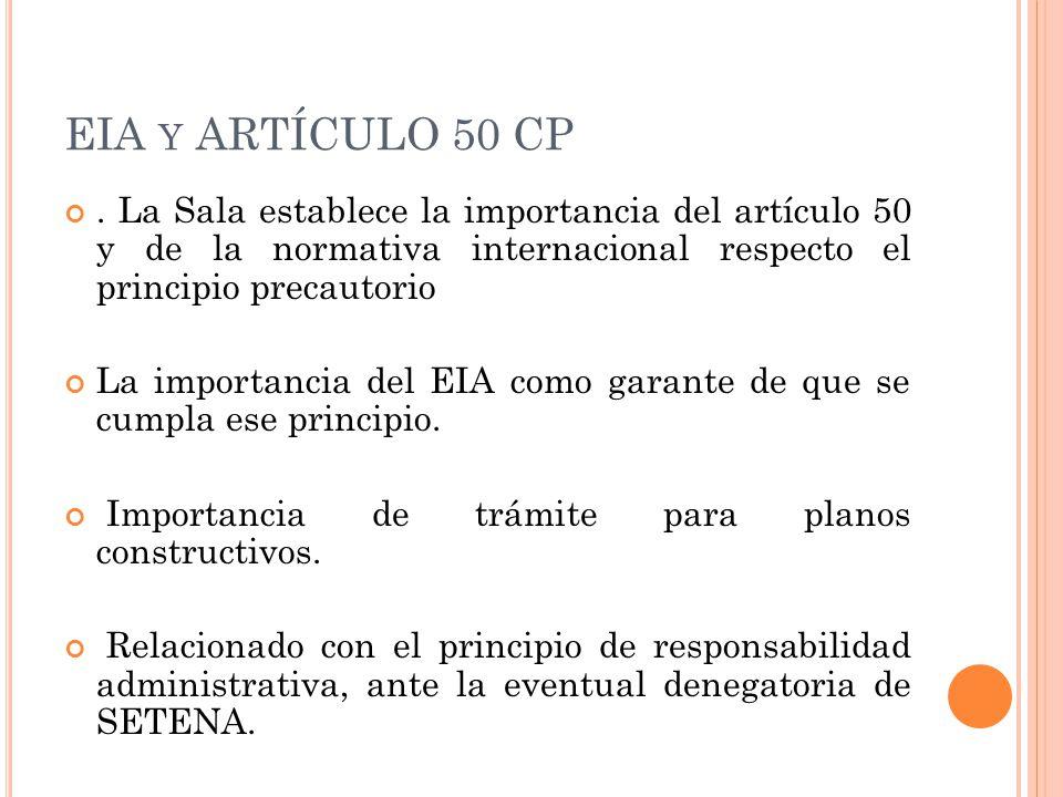 EIA Y ARTÍCULO 50 CP.