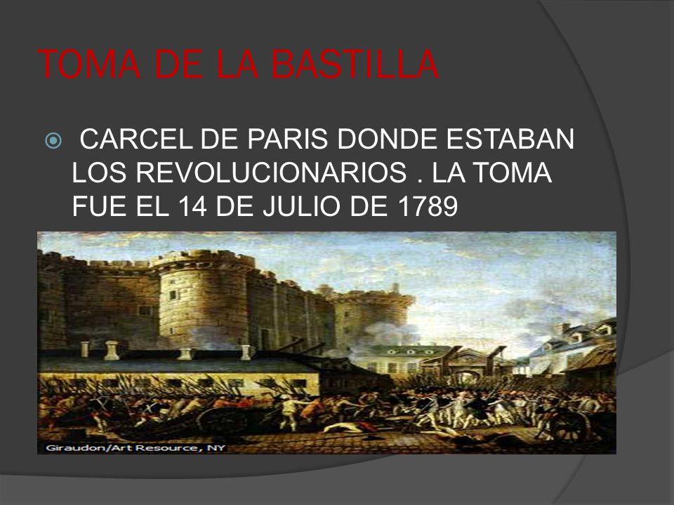 TOMA DE LA BASTILLA CARCEL DE PARIS DONDE ESTABAN LOS REVOLUCIONARIOS. LA TOMA FUE EL 14 DE JULIO DE 1789