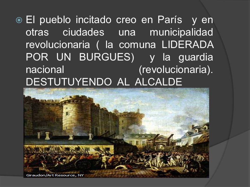 El pueblo incitado creo en París y en otras ciudades una municipalidad revolucionaria ( la comuna LIDERADA POR UN BURGUES) y la guardia nacional (revo