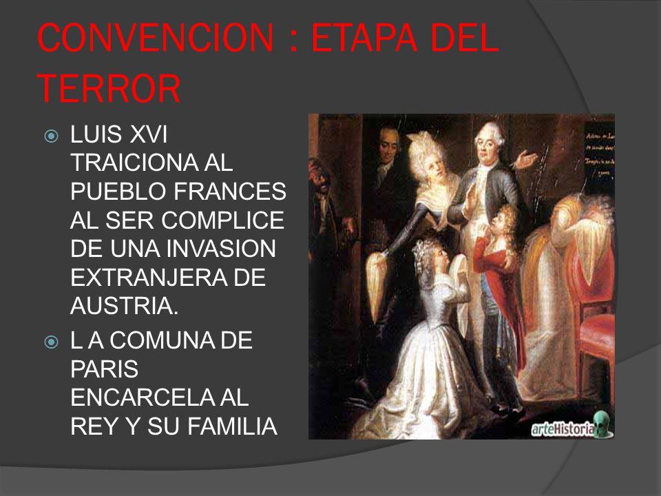CONVENCION : ETAPA DEL TERROR LUIS XVI TRAICIONA AL PUEBLO FRANCES AL SER COMPLICE DE UNA INVASION EXTRANJERA DE AUSTRIA. L A COMUNA DE PARIS ENCARCEL