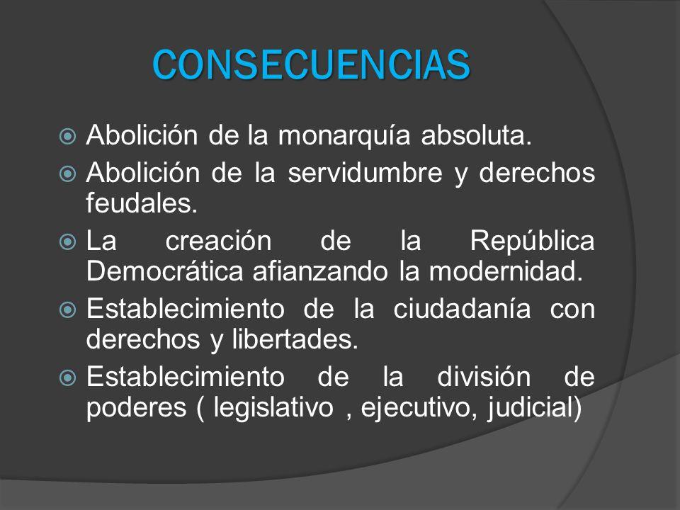 CONSECUENCIAS Abolición de la monarquía absoluta. Abolición de la servidumbre y derechos feudales. La creación de la República Democrática afianzando