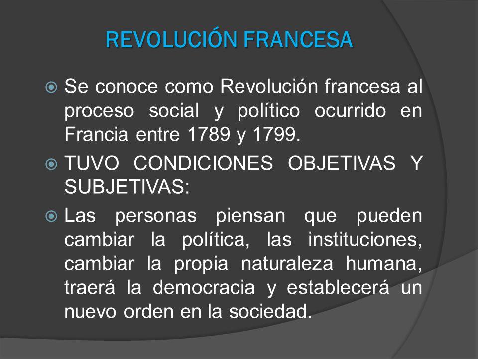 Se conoce como Revolución francesa al proceso social y político ocurrido en Francia entre 1789 y 1799. TUVO CONDICIONES OBJETIVAS Y SUBJETIVAS: Las pe
