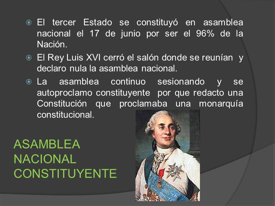 El tercer Estado se constituyó en asamblea nacional el 17 de junio por ser el 96% de la Nación. El Rey Luis XVI cerró el salón donde se reunían y decl