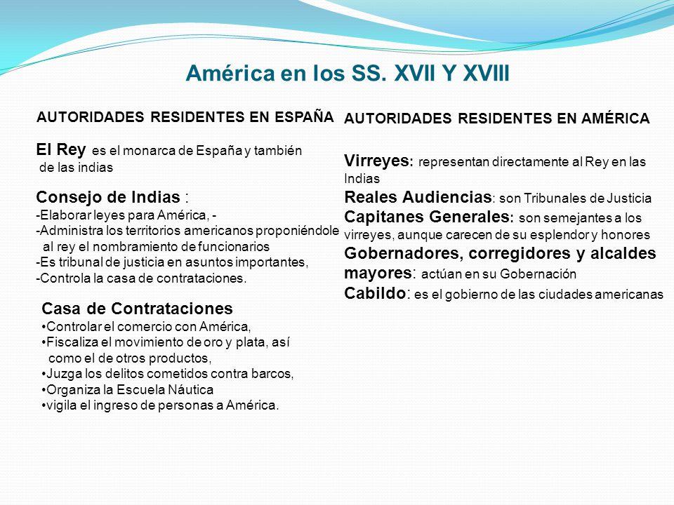 AUTORIDADES RESIDENTES EN ESPAÑA El Rey es el monarca de España y también de las indias Consejo de Indias : -Elaborar leyes para América, - -Administr
