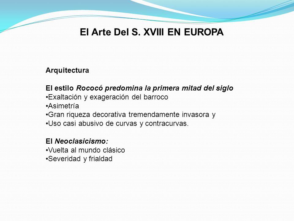 El Arte Del S. XVIII EN EUROPA Arquitectura El estilo Rococó predomina la primera mitad del siglo Exaltación y exageración del barroco Asimetría Gran