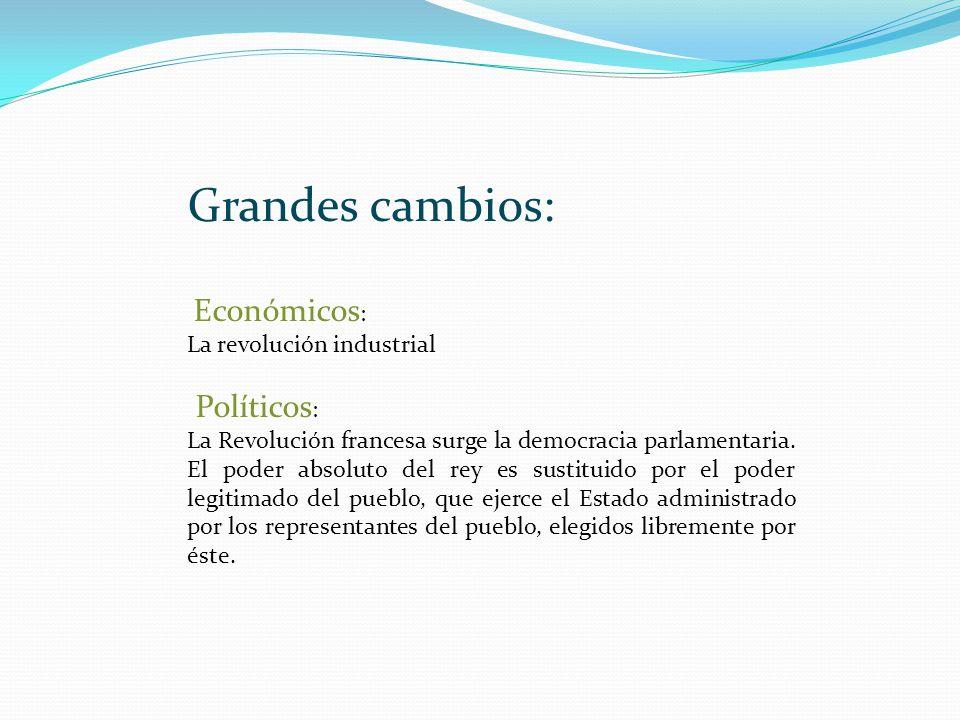 Grandes cambios: Económicos : La revolución industrial Políticos : La Revolución francesa surge la democracia parlamentaria. El poder absoluto del rey
