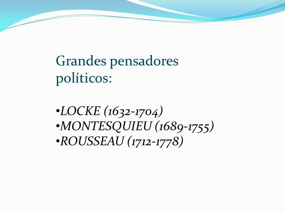 Grandes pensadores políticos: LOCKE (1632-1704) MONTESQUIEU (1689-1755) ROUSSEAU (1712-1778)