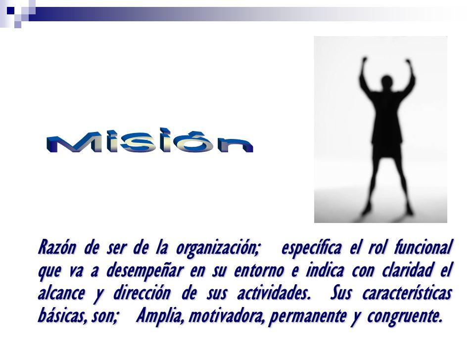 Razón de ser de la organización; específica el rol funcional que va a desempeñar en su entorno e indica con claridad el alcance y dirección de sus actividades.