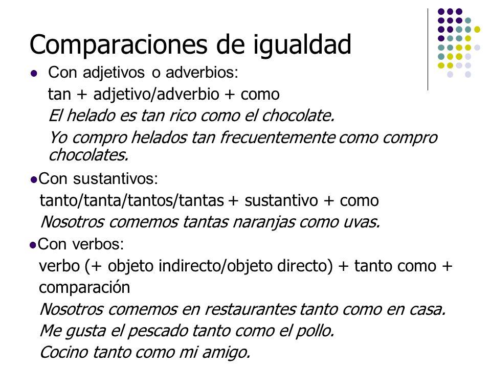 Comparaciones de igualdad En parejas, escriban cuatro comparaciones de igualdad, usando adjetivos y adverbios.