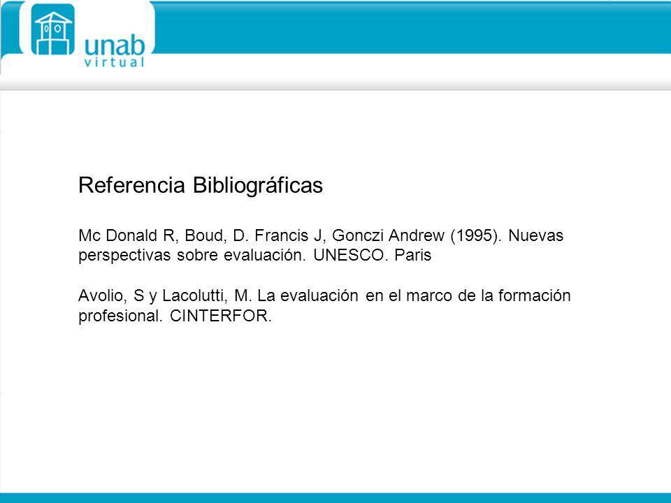Referencia Bibliográficas Mc Donald R, Boud, D. Francis J, Gonczi Andrew (1995). Nuevas perspectivas sobre evaluación. UNESCO. Paris Avolio, S y Lacol