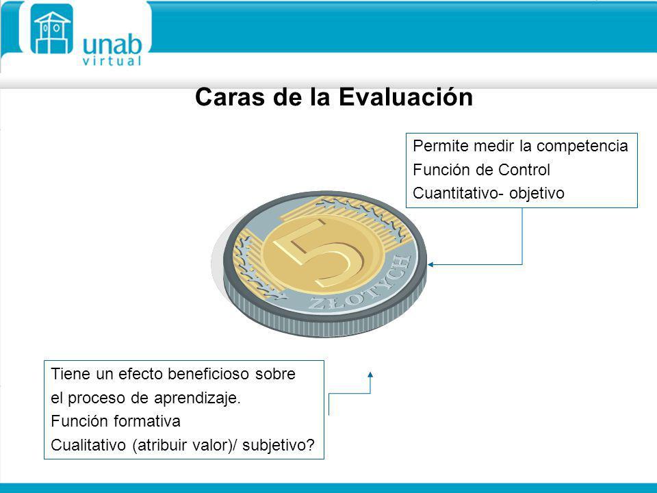 Caras de la Evaluación Permite medir la competencia Función de Control Cuantitativo- objetivo Tiene un efecto beneficioso sobre el proceso de aprendiz